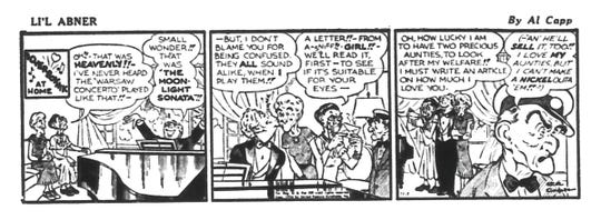 """1954: Liberace was so famous that he was the subject of a long-running spoof in the popular comic strip """"Li'l Abner."""" Comic-strip creator Al Capp dubbed him """"Loverboynik,"""" much to Liberace's mortification. This one was published in The Milwaukee Journal's Green Sheet on Nov. 1, 1954."""