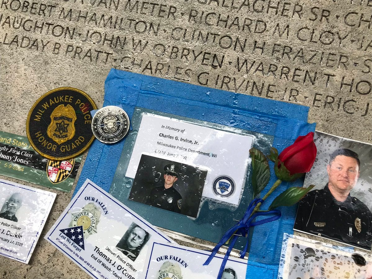 Officer Charles Irvine's name is engraved in the memorial.