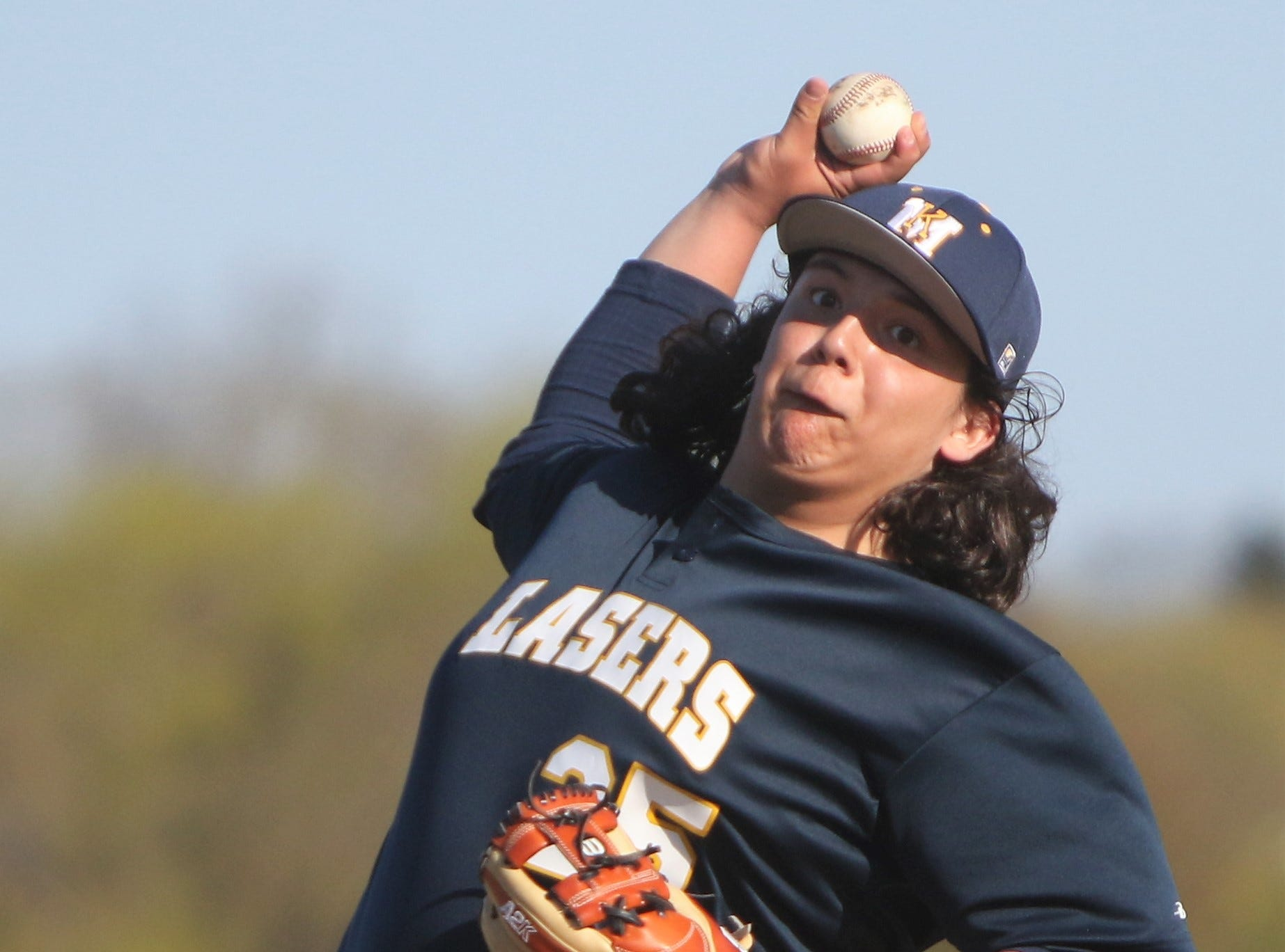 Kettle Moraine pitcher Diego Gutierrez delivers a pitch against Catholic Memorial on May 13, 2019.
