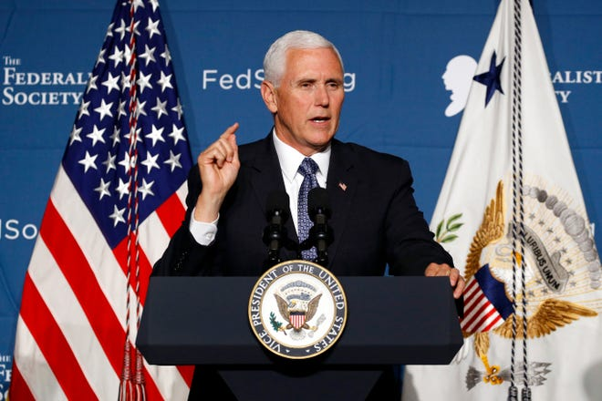 Vice President Mike Pence speaking earlier this month at the Federalist Society's annual Executive Branch Review Conference in Washington, D.C.