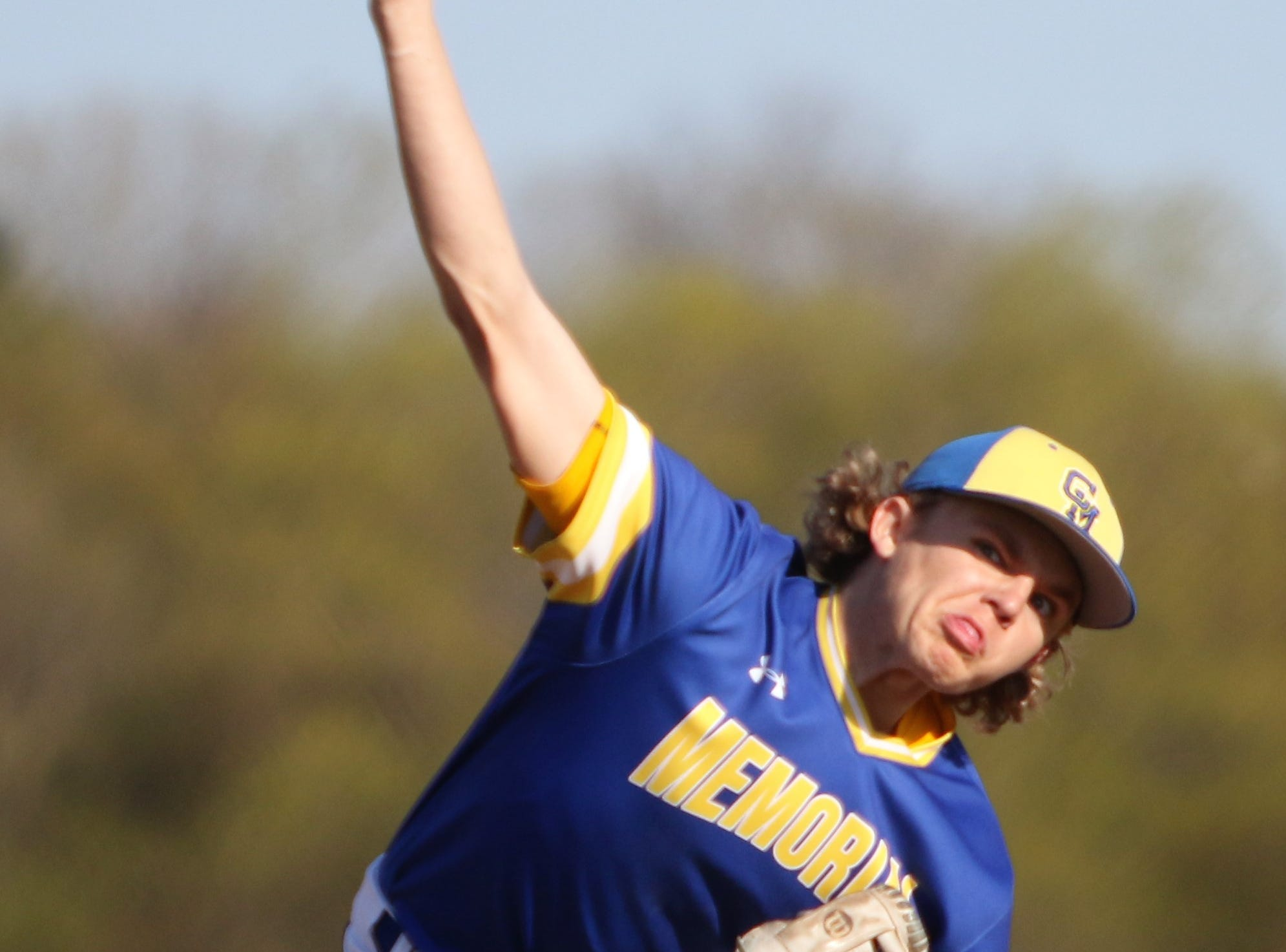 Catholic Memorial pitcher Kellan Short delivers a pitch against Kettle Moraine on May 13, 2019.