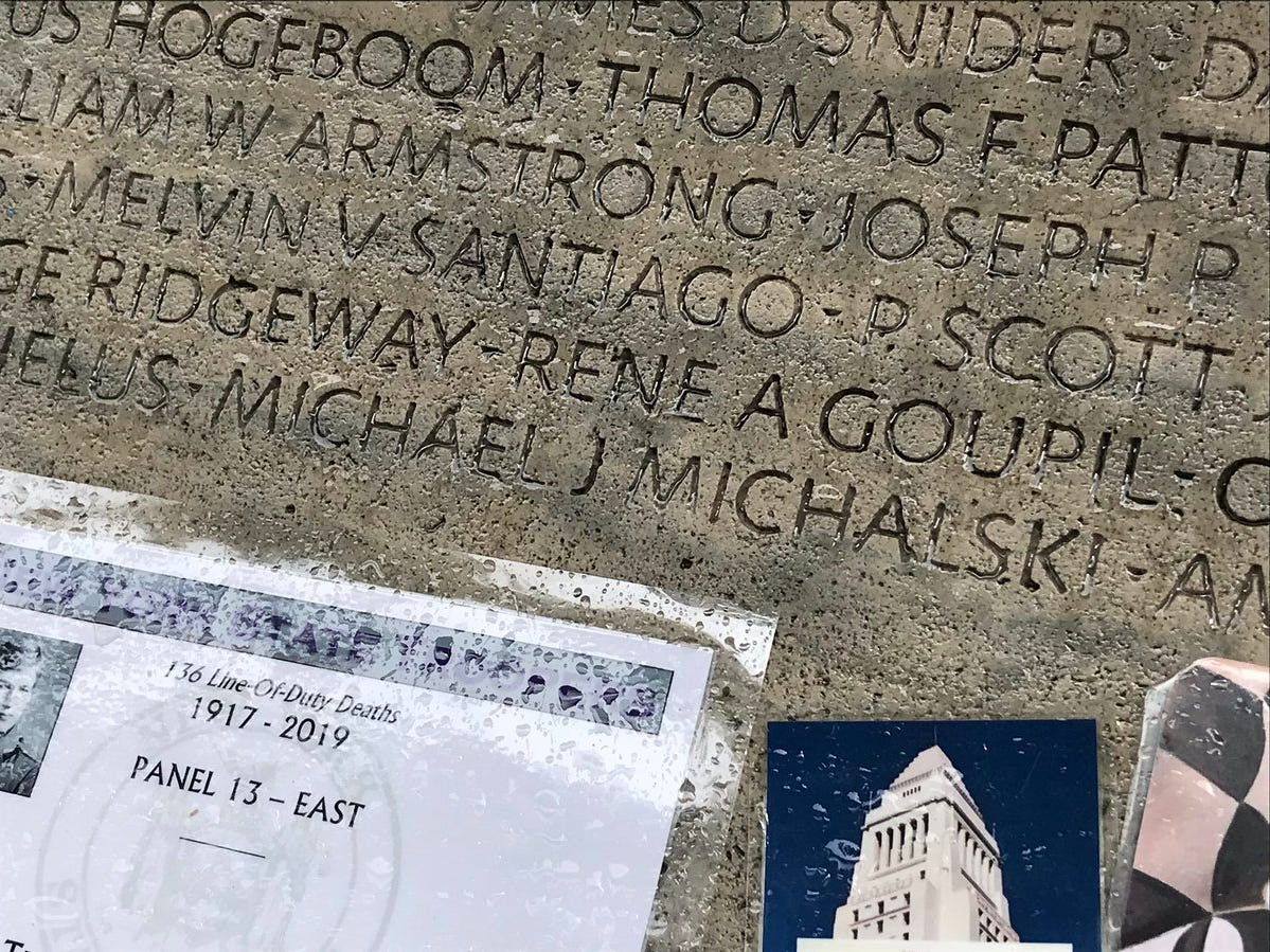 Officer Michael Michalski's name is engraved in the memorial.