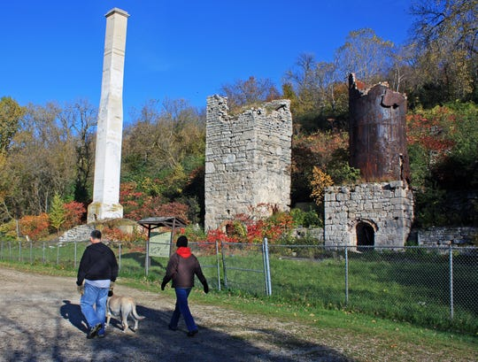 The remnants of a lime kiln and quarry operation stand in High Cliff State Park in Sherwood.