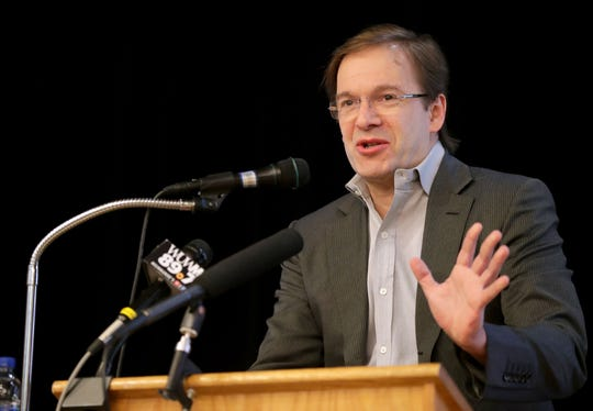 Milwaukee County Executive Chris Abele, shown speaking at Milwaukee Area Technology College in Oak Creek in January 2019, announced Tuesday, May 14,  he is seeking re-election in 2020.