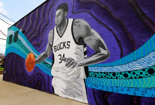 This mural of Milwaukee Bucks star Giannis Antetokounmpo is at 3600 S. Clement Ave. as seen on May 14 2019.