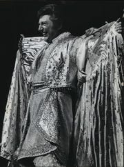 1975: Liberace's smile nearly outshines his outfit as he acknowledges the hometown crowd at a concert in Uihlein Hall on April 2, 1975. This photo was published in the April 3, 1975, Milwaukee Sentinel.