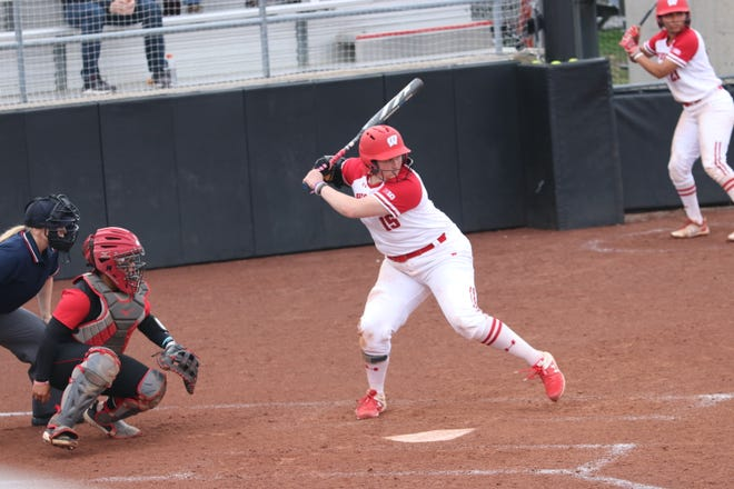 Wisconsin first baseman Kayla Konwent is the Big Ten's Player of the Year. The Badgers face Notre Dame on Friday in a four-team, double-elimination regional in Norman, Oklahoma.