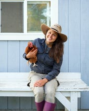 Kelsey Jorissen grew up in a suburb, did college and work in Chicago and then started a five-acre farm in Franklin, tending to chickens and more.