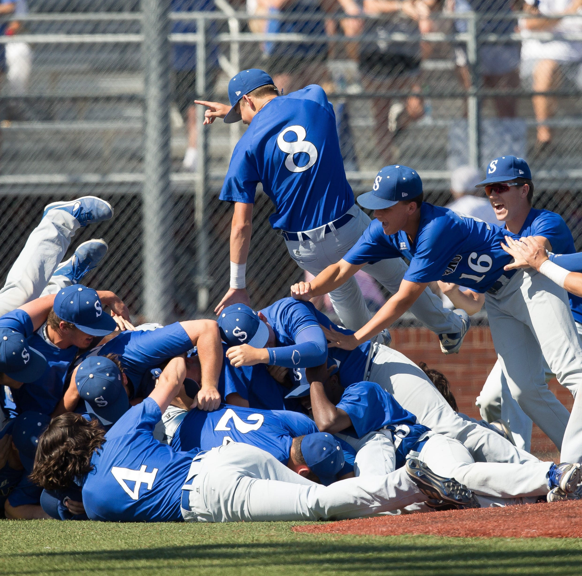 Sterlington celebrates a Class 3A state championship after beating South Beauregard, 4-2, on Tuesday at the Allstate Sugar Bowl/LHSAA Baseball State Tournament.