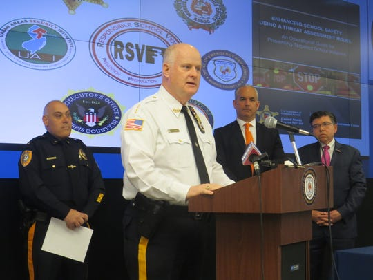 Morris County Sheriff James Gannon speaks at the Office of Emergency Management in Parsippany to announce legislation to fund a pilot program to expand the county's RSVP-3 program to stop school violence. March 14, 2019.