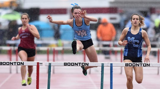 Morris County Track and Field Championships were held at Boonton High School on Tuesday, May 14, 2019. Caroline Isemann of West Morris won her heat of the 400 hurdles.