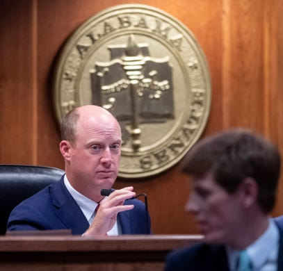 Lt. Gov. Will Ainsworth looks on as debate on HB314, the near-total ban on abortion bill, is held in the senate chamber in the Alabama Statehouse in Montgomery, Ala., on Tuesday May 14, 2019.