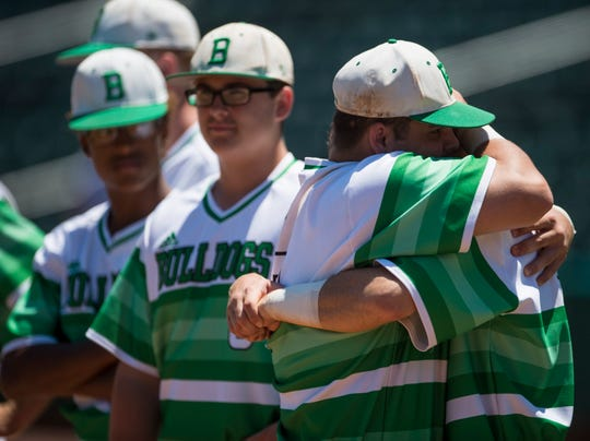 Brantley players react to losing the Class 1A State Championship game at Riverwalk Stadium in Montgomery, Ala., on Tuesday, May 14, 2019. Mars Hill defeated Brantley 13-2.