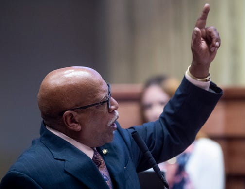 Sen Rodger Smitherman speaks as debate on HB314, the near-total ban on abortion bill, is held in the senate chamber in the Alabama Statehouse in Montgomery, Ala., on Tuesday May 14, 2019.