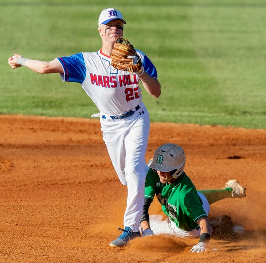 Mars Hill's Kyler Murks throws to first over Brantley's Jake Kilcrease in the AHSAA 1A State Championship Series in Montgomery, Ala., on Monday May 13, 2019.