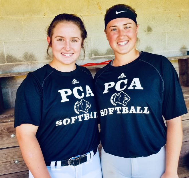 From left, Prattville Christian seniors Kathryn Fallen and Carolyn Carter have started on the varsity softball team all six years.