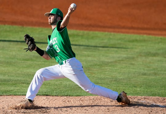 Brantley's Parker Odom pitches in the AHSAA 1A State Championship Series in Montgomery, Ala., on Monday May 13, 2019.