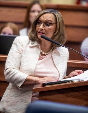 Sen. Vivian Figures speaks as debate on HB314, the near-total ban on abortion bill, is held in the senate chamber in the Alabama Statehouse in Montgomery, Ala., on Tuesday May 14, 2019.