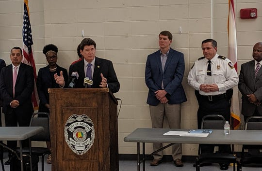 U.S. Attorney Richard Moore announces a $1 million emergency grant from the Department of Justice to help Selma combat violent crimes and gang activity on May 14, 2019.