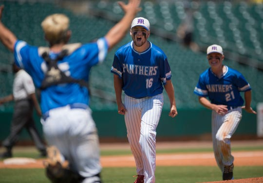 Mars Hill's Will Potts (16) celebrates with his team after winning the Class 1A State Championship game at Riverwalk Stadium in Montgomery, Ala., on Tuesday, May 14, 2019. Mars Hill defeated Brantley 13-2.