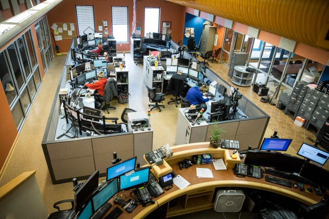 Operators work at the Delaware County 911 operation center during their shift. The operations center has been at the forefront of a county-city dispute over payments for the center.