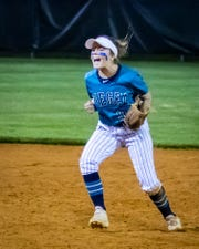 Siegel's Vanessa Westfall celebrates the final out of Monday's 2-1 win over Lincoln County in the Region 4-AAA semifinals.