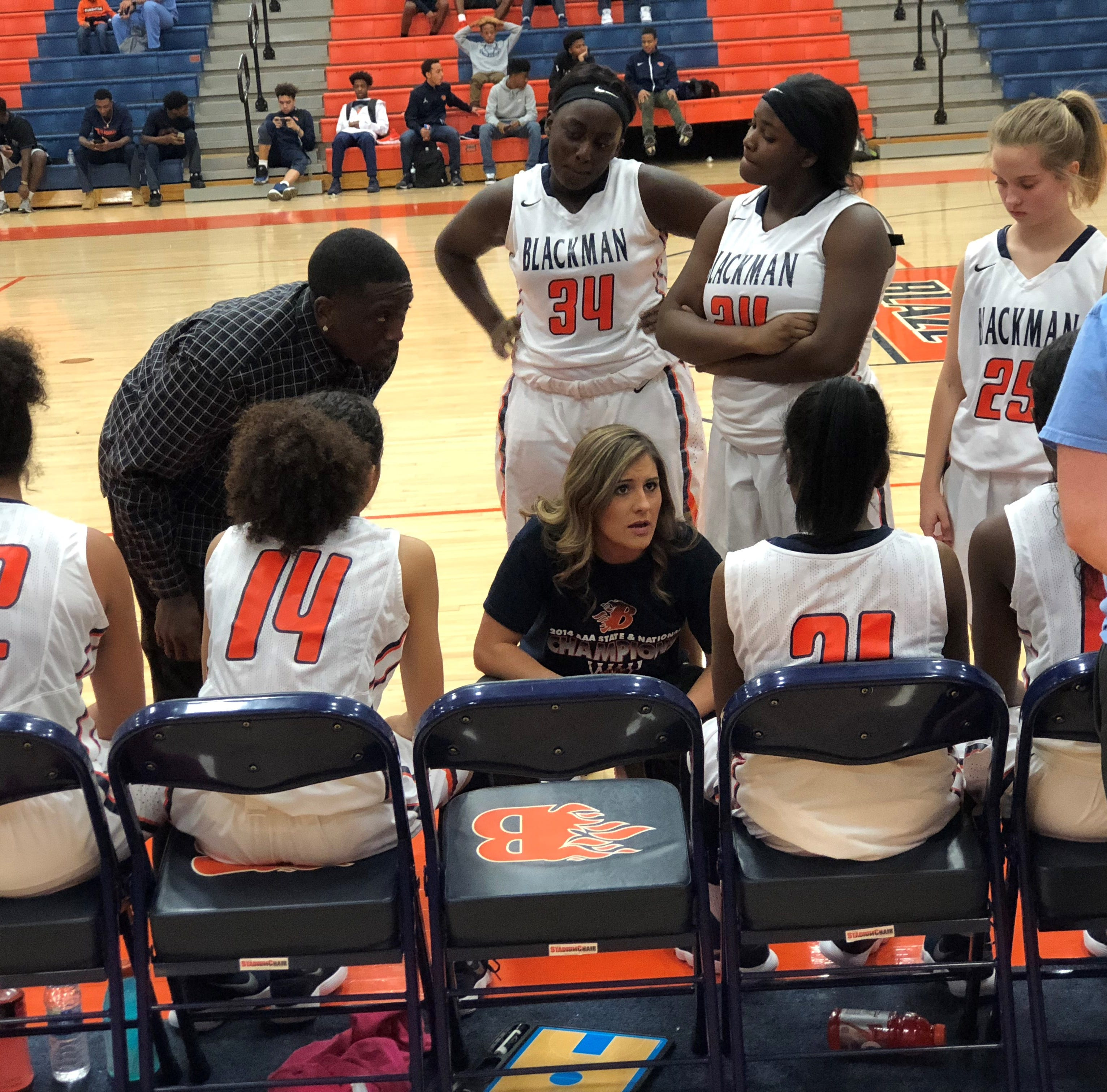 Former Blackman assistant Shelby Campbell, show during a 2018-19 game, has been named head girls basketball coach at Oakland High School.