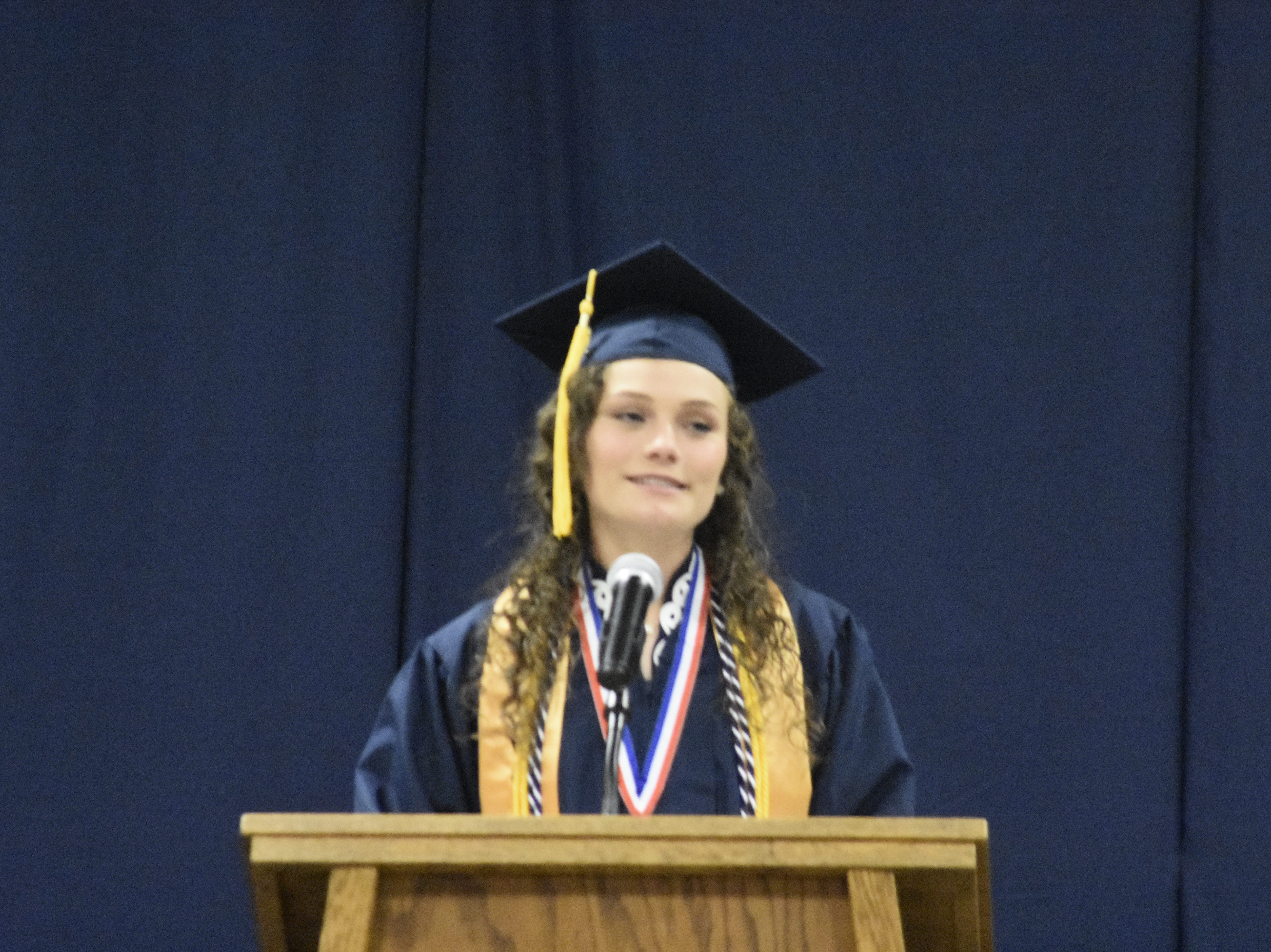 Valedictorian Kylah Kivette gives her address at Pleasant View Christian School's graduation on Monday, May 13.