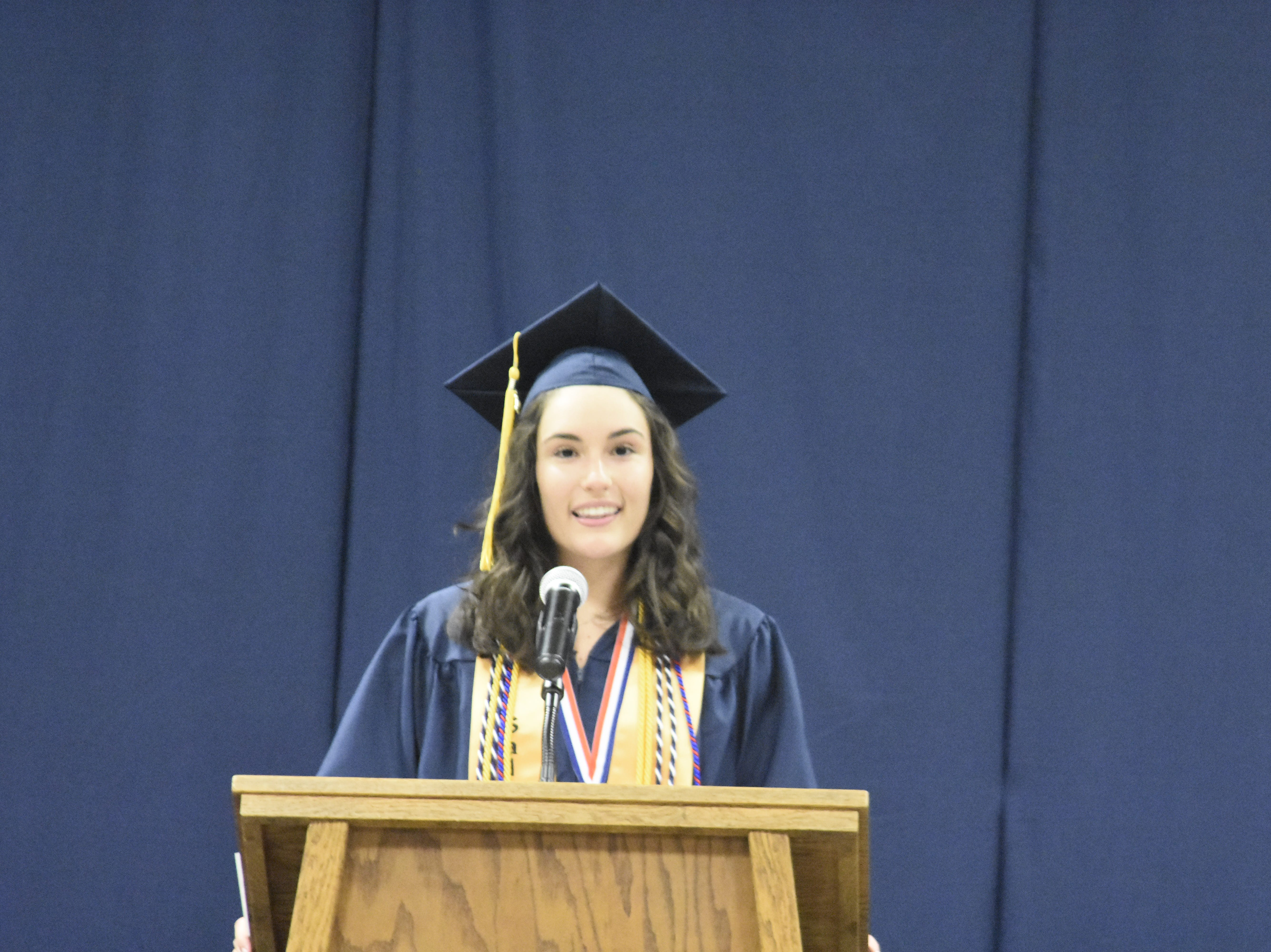 Salutatorian Bethany Milling gives her address during Pleasant View Christian School's graduation on Monday, May 13.