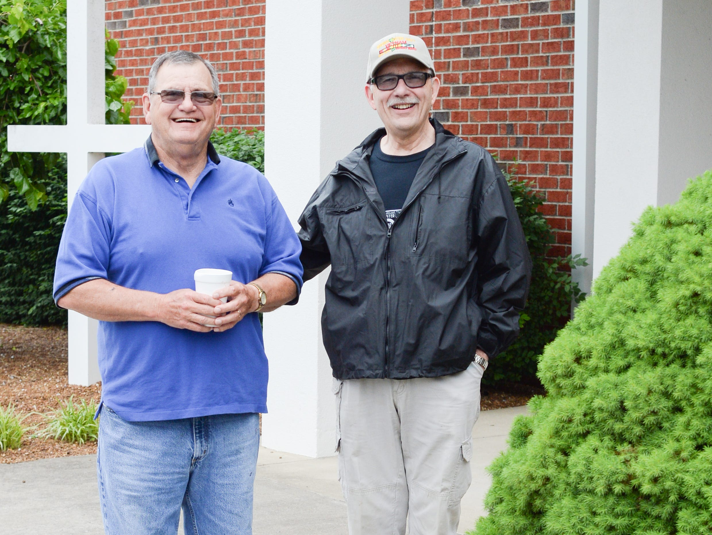 Ron Renfro and John Kerley chat outside during the Strawberry Festival Pancake Breakfast & Silent Auction presented by the Portland Rotary Club & Portland FFA at First Baptist Church Portland on Saturday, May 11.