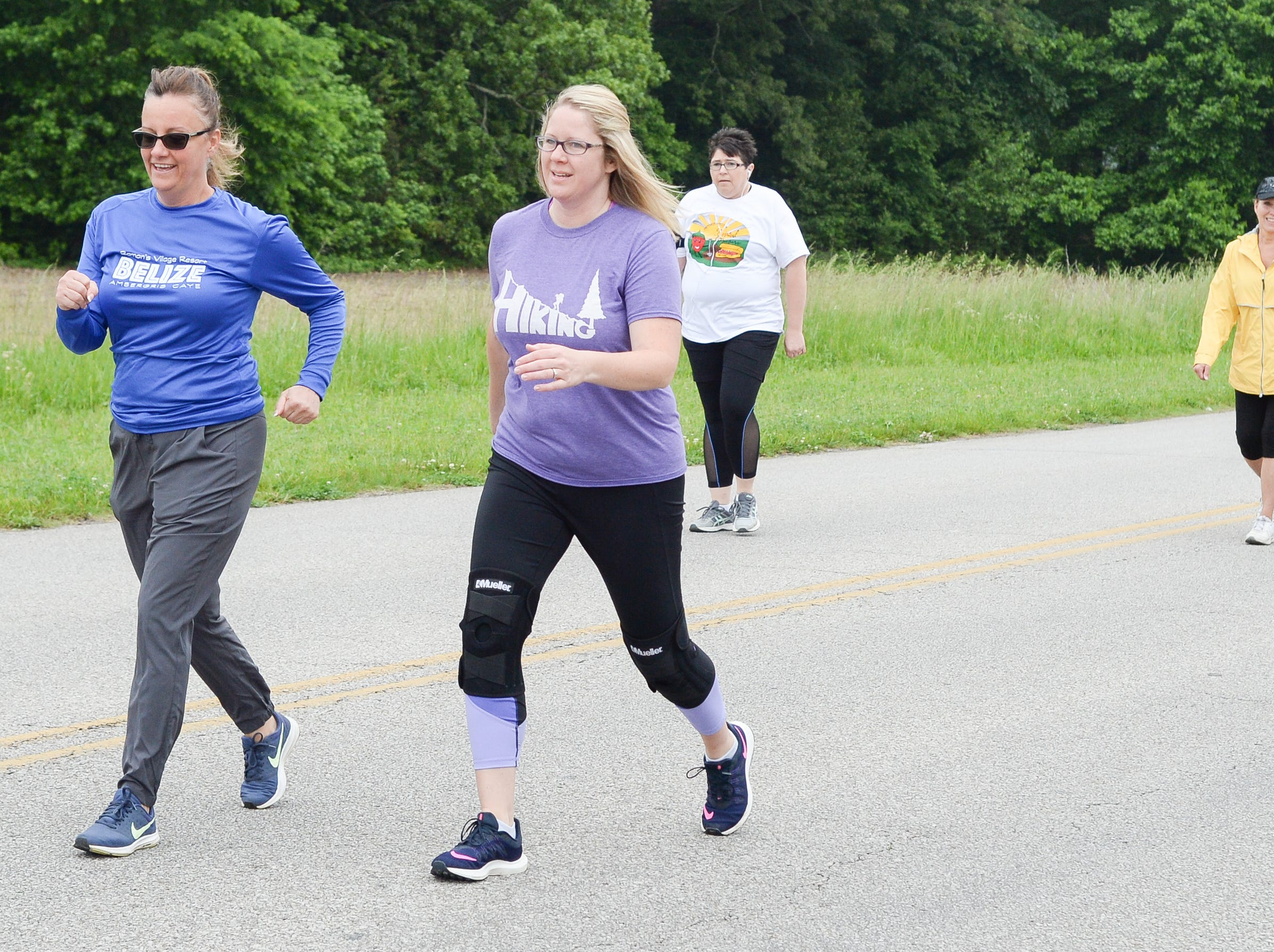 Melissa Raines and Rachel Wooten participate in the Strawberry Stride at Portland High School during the 78th Annual Middle Tennessee Strawberry Festival presented by the Portland Chamber of Commerce in Portland on Saturday, May 11.