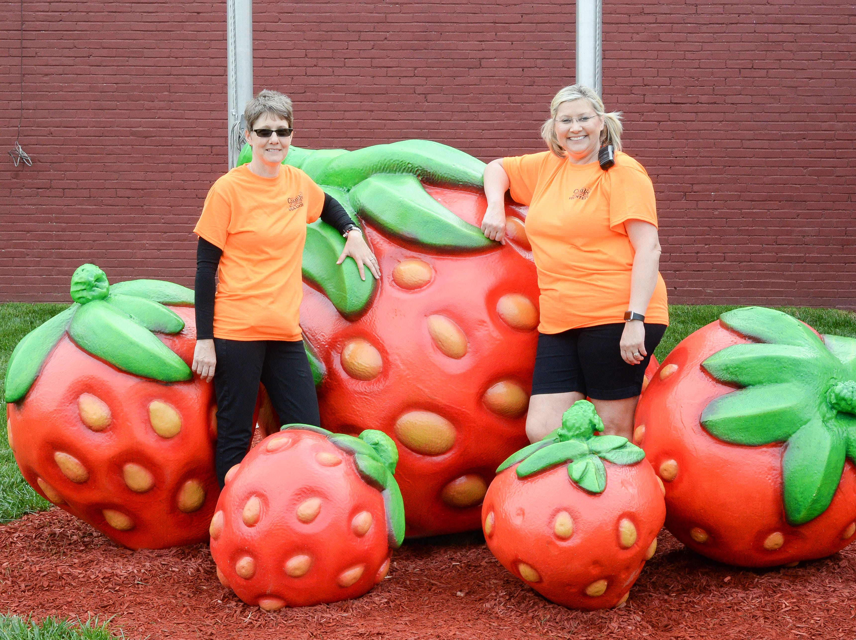 Portland Chamber of Commerce Board Member Kim Rice and Sherri Ferguson, President & CEO of the Portland Chamber of Commerce, work to make the 78th Annual Middle Tennessee Strawberry Festival a success in Portland on Saturday, May 11.