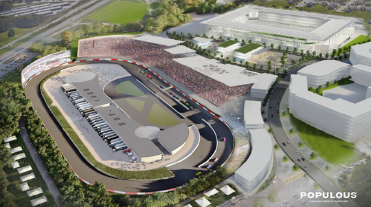 A rendering shows what a revamped racetrack at the Nashville fairgrounds could look like if NASCAR comes back to the city.