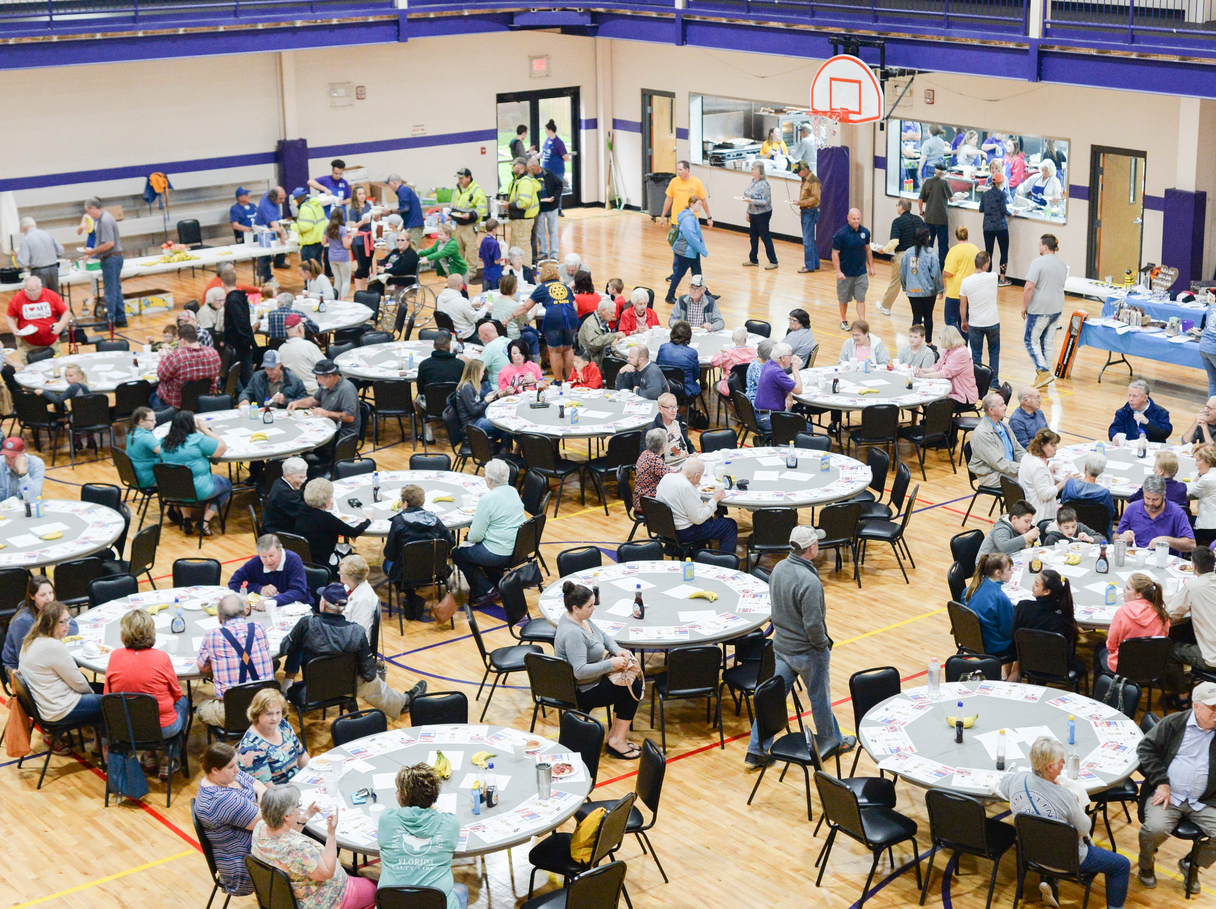 A large crowd gathered for the Strawberry Festival Pancake Breakfast & Silent Auction presented by the Portland Rotary Club & Portland FFA at First Baptist Church Portland on Saturday, May 11.