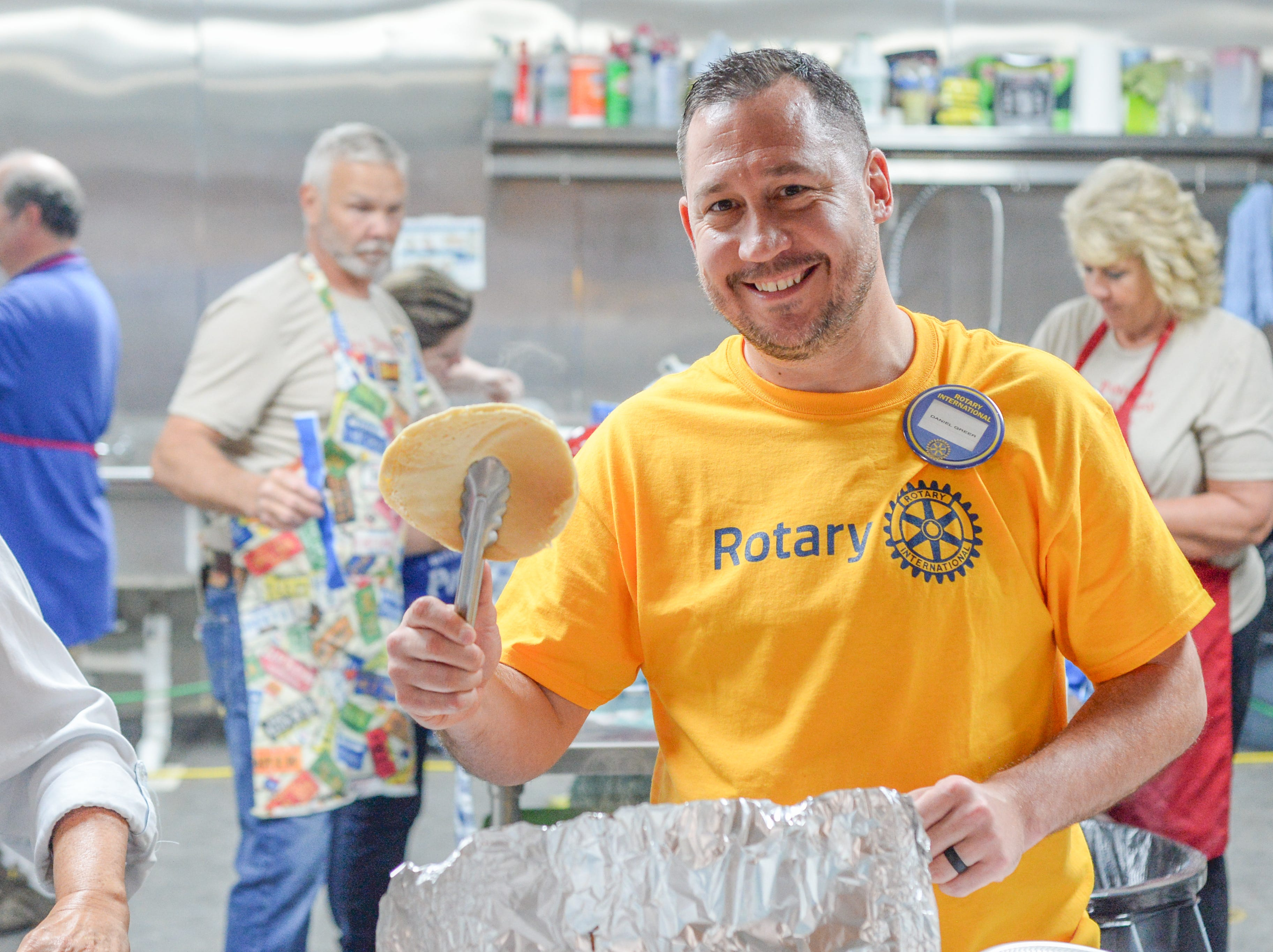 Daniel Greer helps with the Strawberry Festival Pancake Breakfast & Silent Auction presented by the Portland Rotary Club & Portland FFA at First Baptist Church Portland on Saturday, May 11.