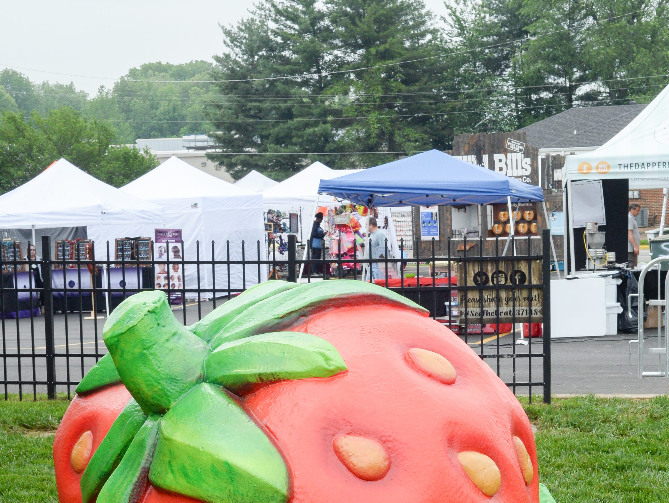 Giant strawberries enhance the landscape during the 78th Annual Middle Tennessee Strawberry Festival presented by the Portland Chamber of Commerce in Portland on Saturday, May 11.