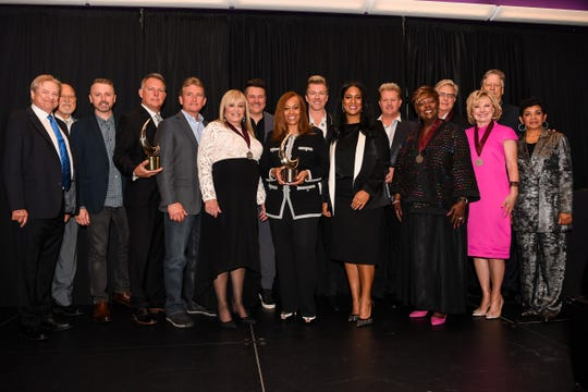 Pictured L to R: Gene Krcelic, Don Finto, Shane Quick, Gary Gentry, Roy Morgan, Dottie Leonard Miller, Jay DeMarcus, Yvette Boyd, Joe Don Rooney, LaDonna Boyd, Gary LeVox, Tramaine Hawkins, Don Moen, Janet Paschal, John Huie and GMA President & Executive Director Jackie Patillo  at the GMA Honors and Hall of Fame Ceremony in Nashville, Tenn. on May 8, 2019.