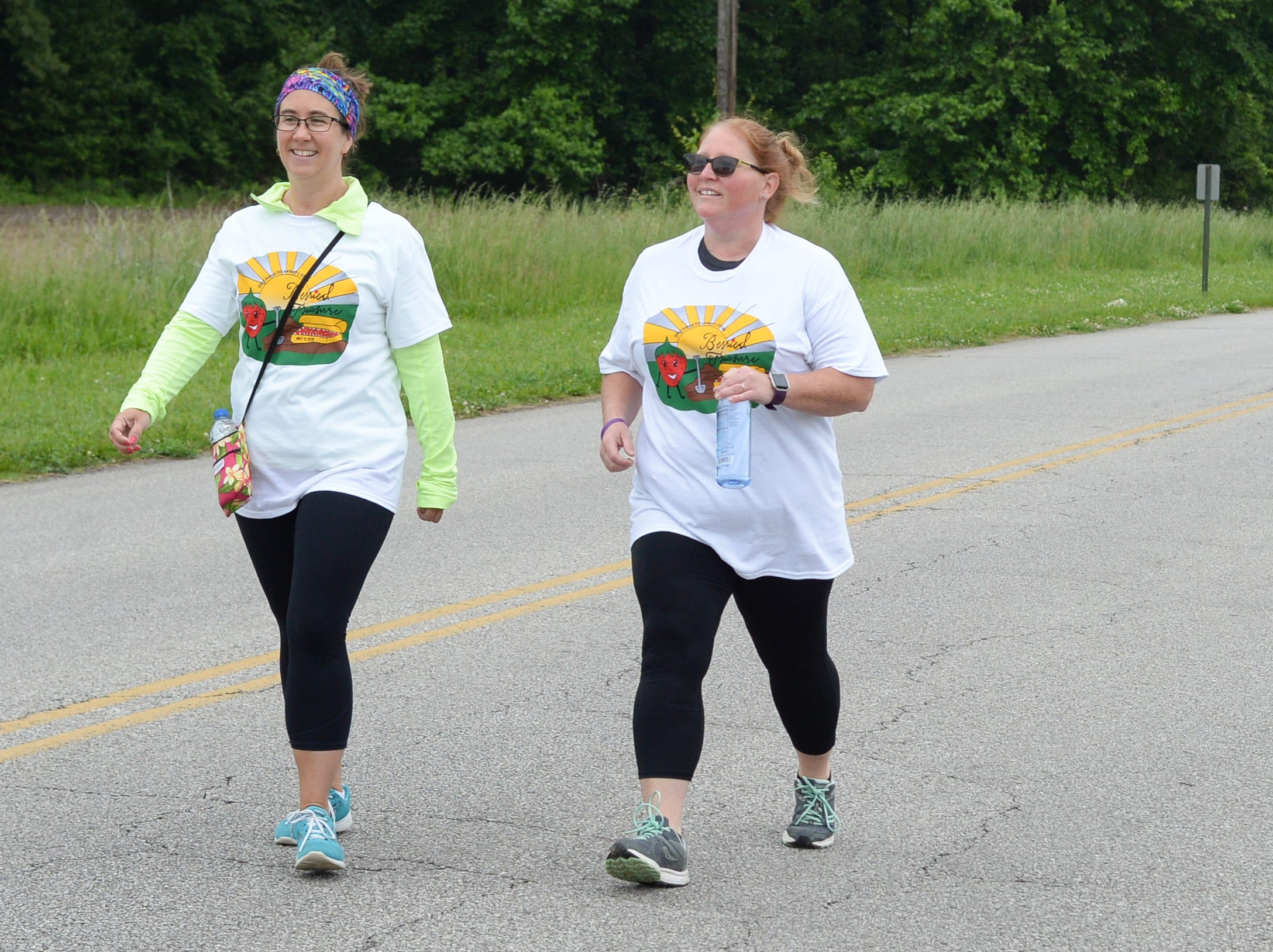 Stephanie Rayniak and Stacy Howell participate in the Strawberry Stride at Portland High School during the 78th Annual Middle Tennessee Strawberry Festival presented by the Portland Chamber of Commerce in Portland on Saturday, May 11.