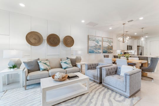 Living area of the Seagrove home in Del Webb Naples is shown.