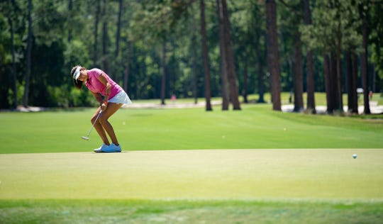 Alexa Pano, a 14-year-old golf phenom, reacts to her putt on 7th green during the first day of 5th U.S. Women's Amateur Four-Ball Championship at Timuquana Country Clug in Jacksonville, Florida Saturday April 27, 2019. Alexa Pano is nationally known and does training with an instructor in Naples.