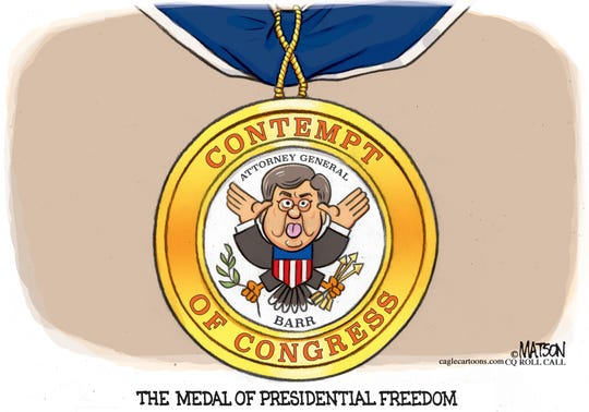 barr's contempt for congress medal