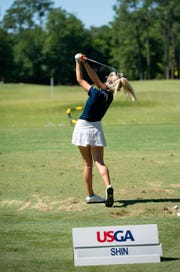 Brittany Shin of Cape Coral practices her iron before the first round of 5th U.S. Women's Amateur Four-Ball Championship at Timuquana Country Clug in Jacksonville, Florida Saturday April 27, 2019. Brittany Shin is from Cape Coral and committed to Florida State.