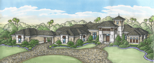 An artists' rendering of Diamond Custom Homes' Sandy Lane model  was sold prior to groundbreaking in Quail West Golf and Country Club.