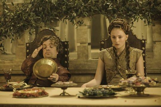 """""""Game of Thrones"""" Peter Dinklage as Tyrion, Sophie Turner as Sansa, Season 3."""