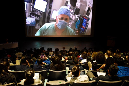 High School students attend a live kidney transplant at Liberty Science Center in Jersey City on Tuesday, May, 23, 2017. The transplant was being performed by doctors at Saint Barnabas Medical Center in Livingston.