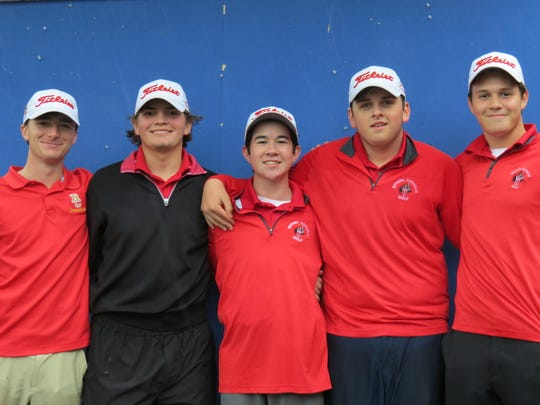 Bergen Catholic won the North Non-Public A golf title: From left: Brandon Valvano, Will Celiberti, Thomas O'Neill, Charlie Cummings and Leo Turi.