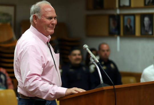 Luna County Manager David McSherry addresses the council members at Monday's Deming City Council meeting.