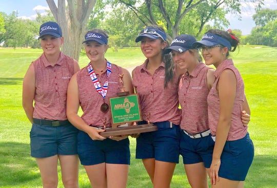The Deming High Lady 'Cats captured the third place trophy at the NM Class 5A State Golf Tournament in Albuquerque. From left are Dezi Stockton, Presley Jackson, Mona Magana, Kamryn Zachek and Jayden Galindo.