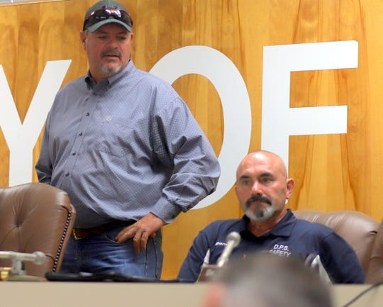 City of Deming Administrator Aaron Sera, left, and Deming Mayor Benny Jasso prior to Monday's City Council meeting.