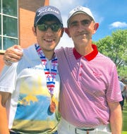 Senior Wildcat Nemo Perales closed out his high school career with a fifth-place finish individually to earn Class 5A All-State Honors. At right is coach James Williams.